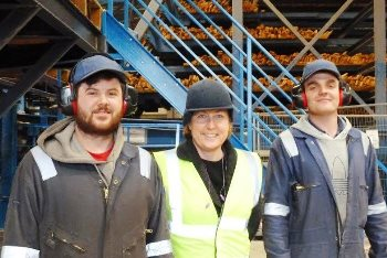 Anne-Marie Trevelyan with apprentices Jake Greenfell and Connor Tiffin